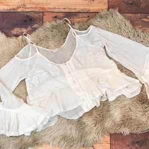 Free People | White Button Down Ruffle Crop Top Xs